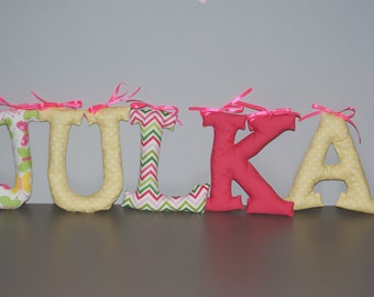 "Customized name banner. Fabric Wall Letters. Big Letters 7,1"". Name of Child, Name Banner. Nursery decor. Made to order"
