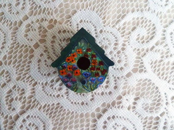 Birdhouse magnet Free mini gift card Colorful by JudesTinyArt