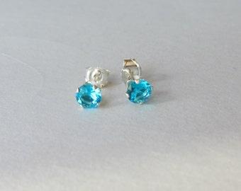 Tiny Sterling Silver 4 mm Blue Zircon CZ Stud Earrings, Cartilage Earring, tiny stud earrings,