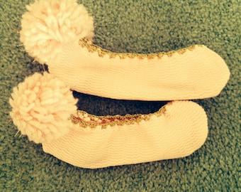 Vintage Pompon Slippers
