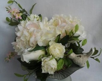Silk Floral Arrangement Hydrangea with Rusebud and Ficus in Metal Container with Bird