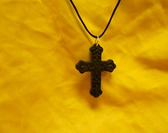 Handmade Large Black Cinnabar Gothic Cross Necklace
