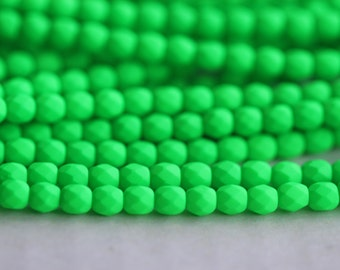 50 Neon Green, 4mm Faceted Round Czech Glass Fire Polished Beads (FP-4M-65)