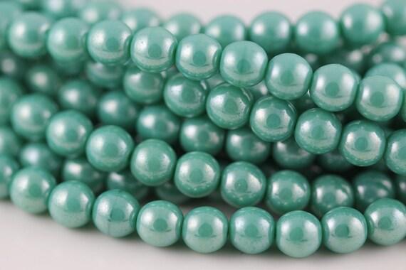 Luster Turquoise : Czech Round Glass Druk Bead, 6mm (50) (CR-6M-27)