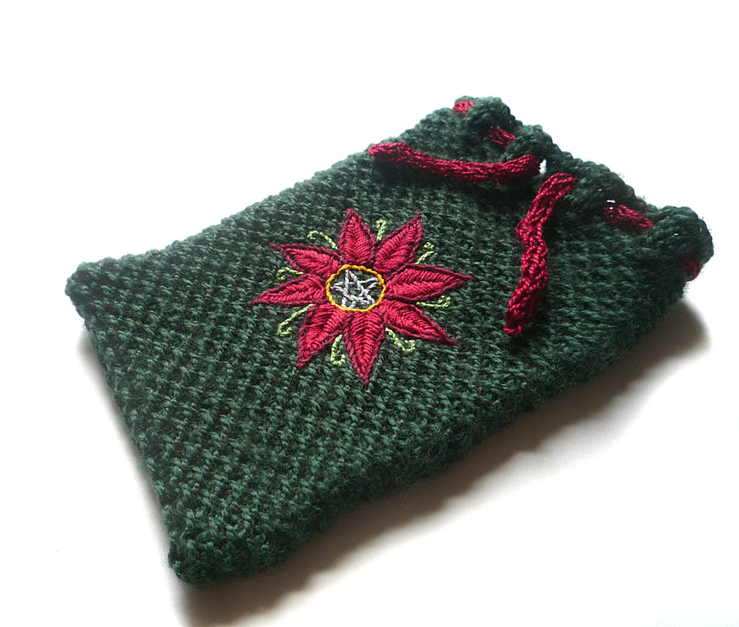 Knit Pattern Tarot Bag : Green Knit Tarot Bag with Embroidered Flower by ...