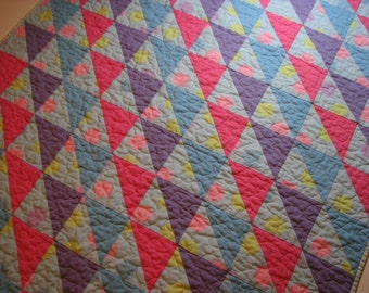 Baby Girl Quilt, Pastel Baby Quilt, Scrappy Triangles, Baby Girl Nursery Decor, Play Mat, Toddler Bed Quilt, Quiltsy Handmade