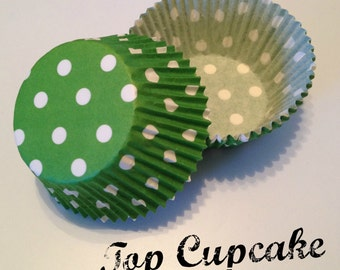 Green with White Polka Dot Cupcake Liners