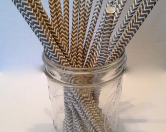 White and Gold Chevron Paper Straws