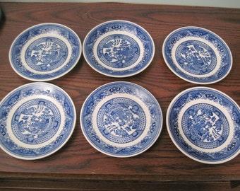 Blue Willow Royal teacup Saucers set of 6