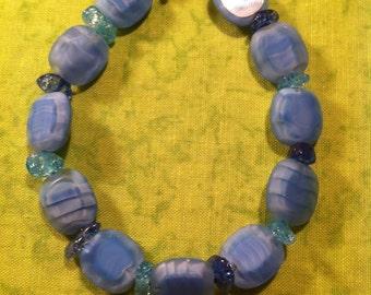 Frosted Blue Glass Bracelet
