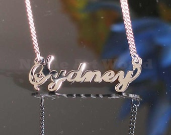 Sydney name necklaces. stainless steel. next day ship. never tarnishes. shiny silver color
