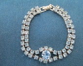 RESERVED FOR MICHELE Vintage Art Deco Blue Double Strand Rhinestone Bracelet Formal Accessories