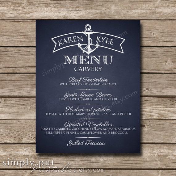 Nautical Navy Chalkboard Wedding Reception Menu Sign | Military Wedding | Dinner Menu Sign | Anchor | Beach Wedding |Bridal Shower Printable