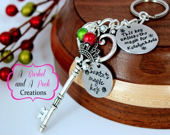 Personalized Hand stamped Santa's Magic Key