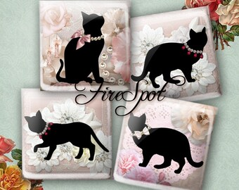 Black Cat flower - Digital Collage Sheet 1.5inch,1 inch,25 mm,20 mm Square,animal,printable images,glass Pendants,Bottlecaps,Scrapbooking