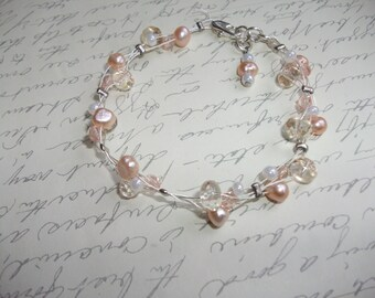 Champagne pearls and glass bracelet