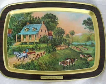 Set Of Four Vintage Currier And Ives American Homestead Trays, Complete Set Of Four
