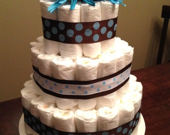 Baby Boy 3-Tier Diaper Wedding Cake 14 inches