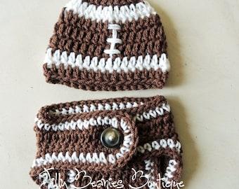 Infant Football Hat, Diaper Cover Set, Boy Hat/ Diaper Set, Football Hat, Boy Hat, Baby Hat, Baby Beanie, Newborn Hat, Infant Hats