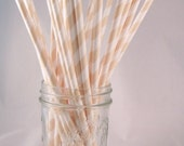 15% off  - 50 Cream Beige Elegant Stripe Straws - ships less than 24 hours - CreativeJuiceCafe