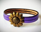 Metallic Purple 2-Strand 5mm Leather Bracelet with Antique Brass/Silver Flower Clasp