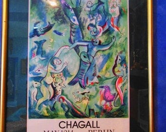 VINTAGE 1914 CHAGALL Exhibition Poster from Walden's Strunm Gallery in Berlin  Framed