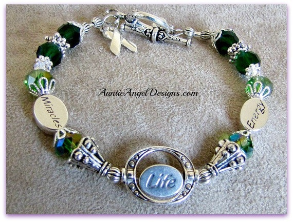 Miracles Life Energy Mito Awareness Jewelry; Mito Disease Awareness Bracelet; Mitochondrial Disease; Green Ribbon Awareness Jewelry