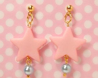 Handmade Sweet Lolita Fairy Pink Star Earrings Ball Post Gold Star Blue Pearl