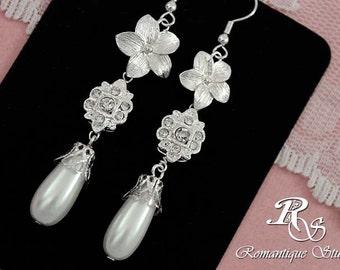 Bridal earrings vintage inspired rhinestone flower and pearl drop wedding earrings, bridesmaid earrings -  1115