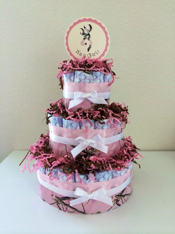 items similar to pink camouflage diaper cake baby shower it 39 s a girl