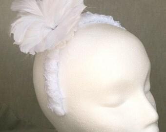 Wedding headband, white, feather flower, satin, rosetta ribbon, bride, bridesmaid, mother of the bride.