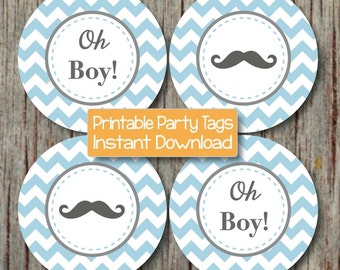 Oh Boy! Mustache Little Man Baby Shower diy Cupcake Toppers Powder Blue Grey Chevron Stickers Favor Labels Tags INSTANT DOWNLOAD 162