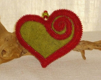 Beaded Red & Green Wool Felt Heart Ornament #2, Mother's Day Heart, Wedding Favor, Proposal Idea, Anniversary Gift *Ready to ship