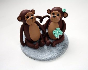 Bride and Groom Monkey Wedding Cake Toppers // Ready To Go