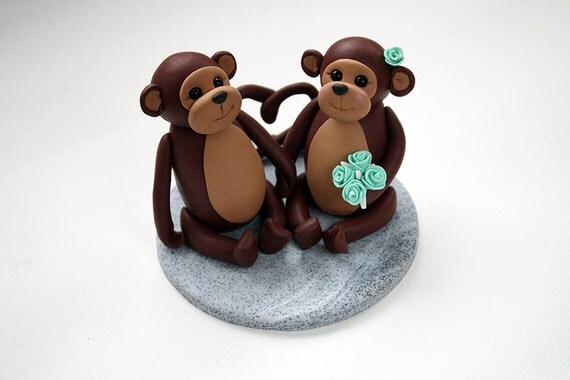 Bride And Groom Monkey Wedding Cake Toppers Ready To Go