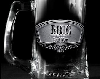 Groomsmen Gift, Engraved Best Man, Groomsman Beer Mugs, Single Glass