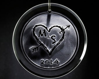 Heart and Arrow Engraved Christmas Ornament for Lovers
