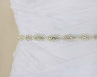 CHRISTINE - Lovely Crystal Rhinestone Bridal Sash, Wedding Beaded Belt, Bridal Rhinestones Belts, Bridesmaids, Bridal Party