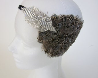 Flapper Dress Gatsby Headpiece for Gatsby Dress For Gatsby Party Dark Gray Fascinator