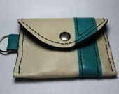 White and Teal/Green leather pouch/wallet