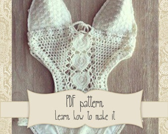 PATTERN for White Crochet Swimsuit - OnePiece Crochet - Lace Swimsuit Crochet - bathsuit crochet