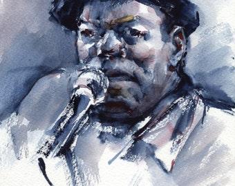 Blues singer painting - original blues painting for pub