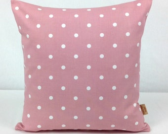 16x16, pillow, pink, Throw pillow Cover, Decorative Throw cover, White, polka dot, spots, shabby chic, pillow cover, 16 inch,  Handmade