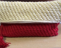 Foldover Crochet Clutch/ Crochet Clutch in Red and Yellow with Fabric Lining
