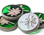 Green dragonfly, Picasso czech glass beads, Czech Glass Bead Picasso Finish, 23 mm, 2 pcs - WhiteGiraffe