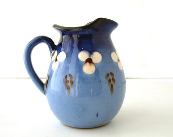 French vintage Savoyard pottery creamer in ombre blue with white and brown dots. Rustic farmhouse ceramic. French country