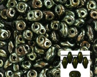 Metallic Green SuperDuo Two Hole 2x5mm  Czech Glass Bead (7.5 grams) SD-B14495