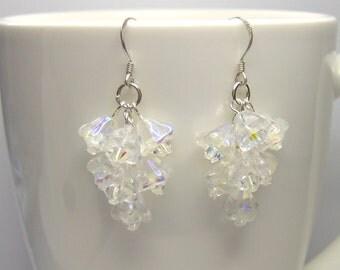 Crystal cascade earrings, flower earrings, crystal flower, swarovski flower, swarovski earrings, wedding earrings, prom earrings ER024