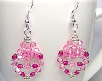 Pink earrings, rose pink, swarovski earrings, pink crystal earrings, pink and silver, summer earrings, ER020