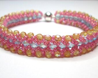 Pink blue and yellow bracelet, seed bead bracelet, summer bracelet, flat spiral bracelet, chevron bracelet, beadwoven bracelet, BR010